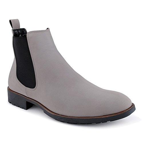 Herren-casual-boot-schuhe (FiveSix Herren Business Anzug Stiefel Stiefeletten Boots Casual Schnür Hochzeit Chelsea Velours-Optik Halb Schuhe Grau EU 44)