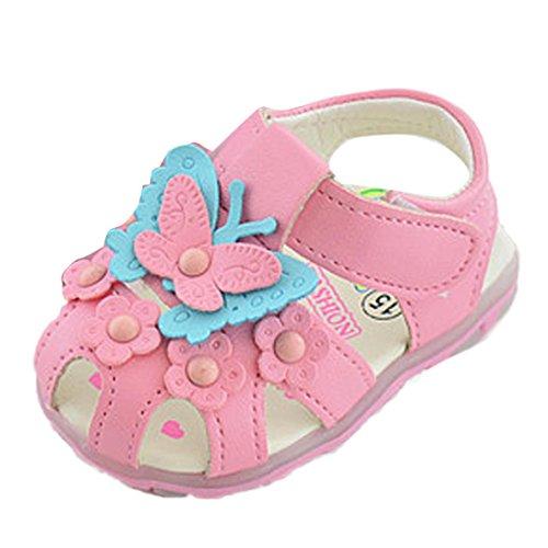 Babyschuhe Longra Kinder Baby Mädchen Krabbelschuhe Prinzessin Schmetterling Mode Single Schuhe Sommer Mädchen Sandalen (15CM 0 ~ 6 Monate, Pink)