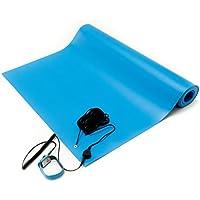 Bertech ESD alfombrilla Kit con una correa de muñeca y un cable de puesta a tierra, color azul