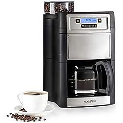 Klarstein Aromatica II Cafetière avec moulin - cafetière filtre, 1000W, verseuse en verre 1,25L, Timer 24h, plaque chauffante, filtre au charbon actif, argent