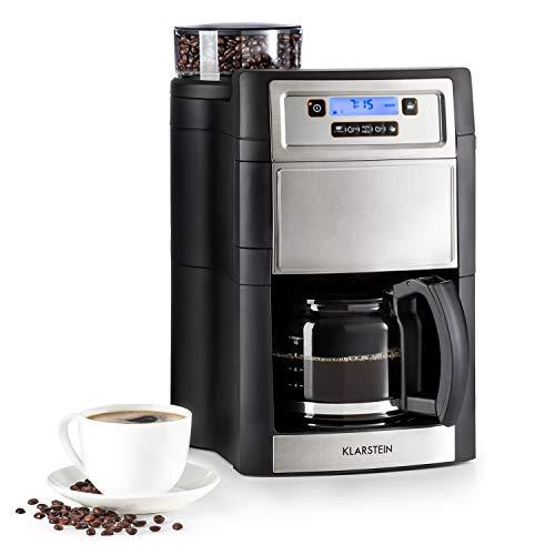 Klarstein Aromatica II máquina de café con molino - Máquina de café con filtro , 1000 W , Jarra de vidrio de 1,25 litros , Programable 24 horas , Filtro de carbón activo permanente , Plateado