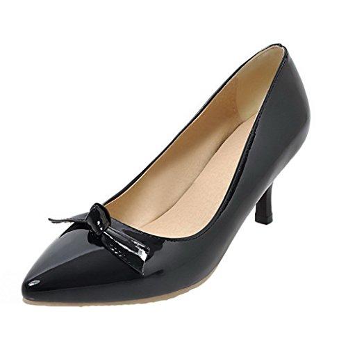 Voguezone009 Mujeres Pull Medium Heel Pure Pig Cuero Punta Estrecha Zapatillas De Ballet Negro