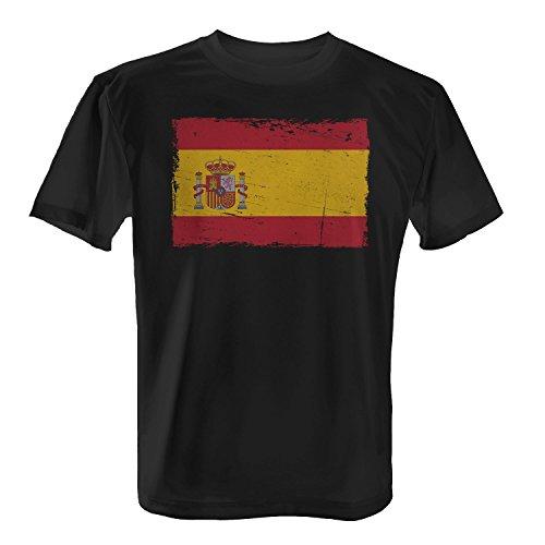 Spanien Flagge mit Wappen - Herren T-Shirt von Fashionalarm | Fun Shirt Fahne Banner Vintage Grunge Flag Freizeit Fussball Schwarz