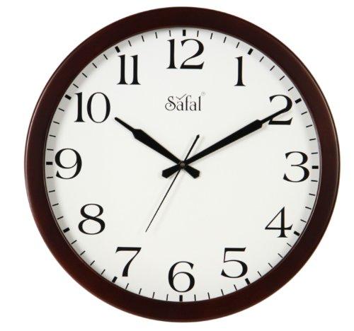 Safal Wooden Wall Clock (40cm x 40cm, Brown, SQ 1077)