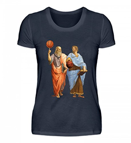 Hochwertiges Damen Organic Shirt - Plato & Aristotle - Basketball Match Tiefblau