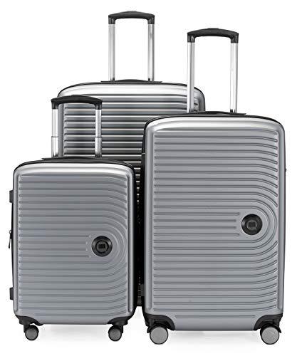 HAUPTSTADTKOFFER - Mitte - Set di 3 valigie - bagaglio a mano da 55 cm, valigia media da 68 cm, valigia grande da 77 cm, in ABS rigido, TSA, Argento