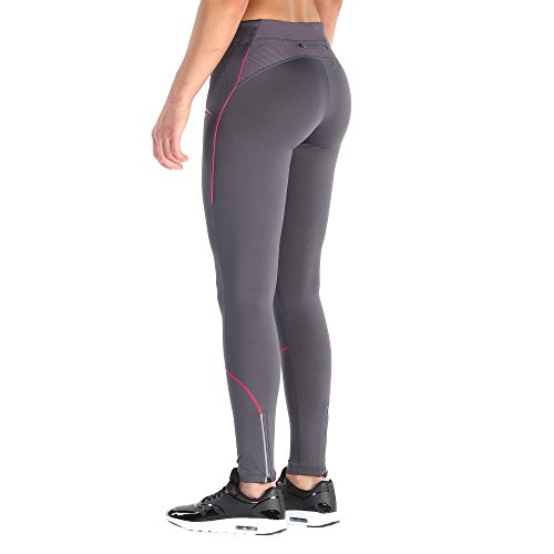 Sport Leggings Damen | Figurformende Leggins für Sport Gym Training & Freizeit | Sporthose | Workout Trainingshose mit Muster | Shape Tights Laufhose | SMILODOX, Größe:M, Farbe:Dark Grey-Neon Rose - 2