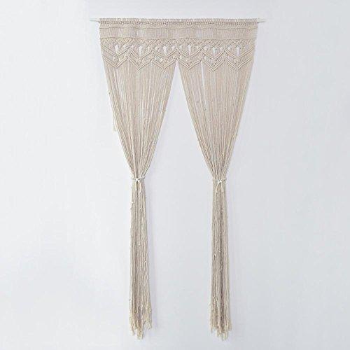Cortina para colgar en la ventana o puerta, tejida a mano, 100% algodón de punto