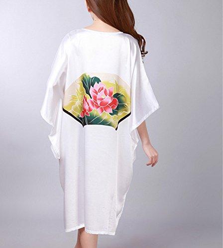 YueLian Camicie da Notte da Donna con Loto Loto Bianco