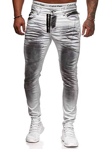 OneRedox Herren Jeans Denim Slim Fit Used Design Modell 5042 Dirty White 31/32