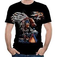 Feng Hombres de la Moda de Cuello Redondo de Manga Corta Camiseta de Manga Corta de Indian Imprimir 3D,XXL
