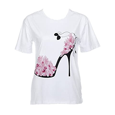 Women Loose Tops, Keepwin Fashion High Heels Printed Short Sleeve