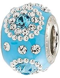 Amor y besos: plata, color azul y Blanco Cristal Swarovski racimos y con esmalte del grano
