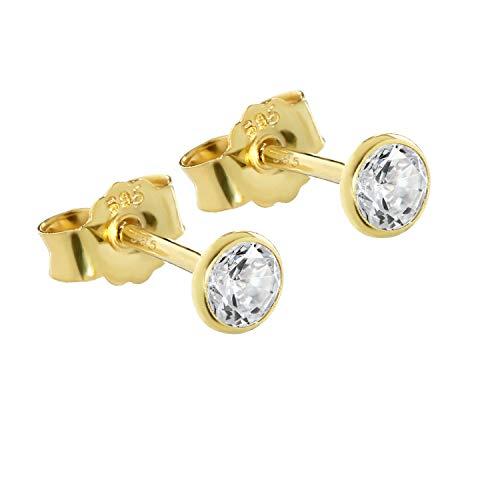 NKlaus Paar Ohrstecker echt Gold 585er 4,0mm Cubic Zirkonia Damen Herren Kinder 1748