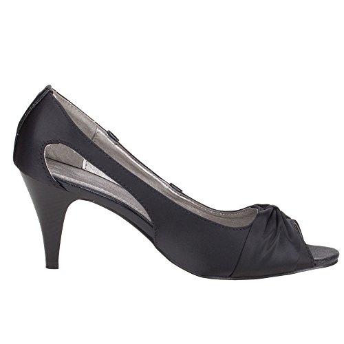 Damen Schuhe PUMPS PEEP TOE HIGH HEELS Schwarz