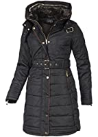 Violet Fashion Damen Wintermantel mit Gürtel un Webpelzkragen, schwarz