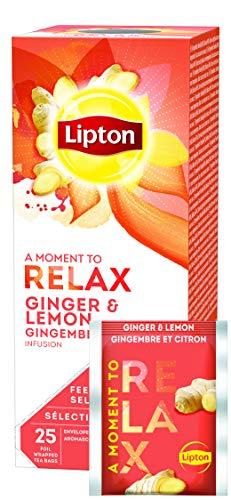 Lipton Früchtetee (aromatisierte Früchtetee Mischung mit Ingwer und fruchtigem Zitronearoma) Ingwer Zitrone, 3er Pack (3 x 25 Teebeutel) -