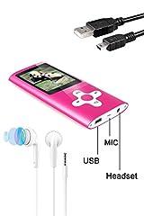 Idea Regalo - Tabmart Metal Hi-Fi Capacità Di 16GB Lettore MP3 Musicale Portatile Lettore MP4 Ad Alta Risoluzione Con 1,8 Pollici Schermo MP3 Lettore Multifunzione 10 Ore Di Riproduzione Continua, Rosa
