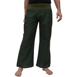 Pantalón yoga con cinturilla elástica y dos bolsillos prácticos, , L/XL, verde