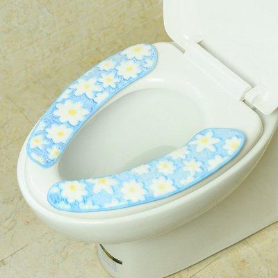 Der WC-Sitz Pad Verdickung umfassen allgemeine Coral Fleece Winter warm wasserfeste Paste Typ wc Sitzkissen 26 cm * 9,5 Cm2, blau