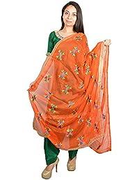 FABRECA Women's Chiffon Phulkari Dupatta (Orange)