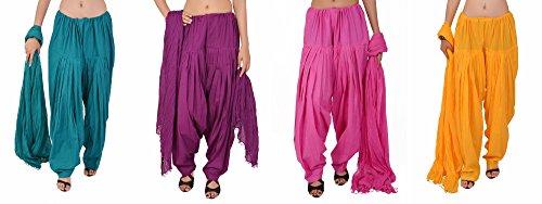 Stylenmart Women's Cotton Patiala Salwar & Dupatta (STMAFCPD078611_Multi-Coloured_Free Size)