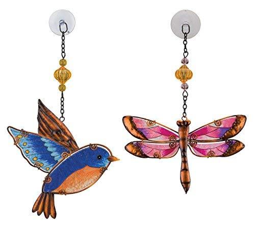Regal Art & Geschenk Sonnenfänger für Zuhause, Garten, Fenster und Art Wand One Size Pink Dragonfly & Blue Bird