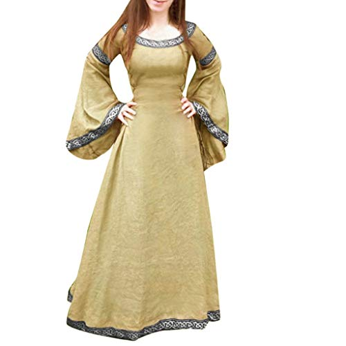 DRESS_start Mittelalterlich Bodenlangen Renaissance Gothic Cosplay Kleid Für Damen Langarm Mittelalter Viktorianischen Königin Kostüm Maxikleid Vintage Bauer Spitze (Kostüm Bauer Mädchen)