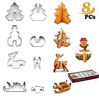 3D Molde Galletas, Zoneyan Cortadores de Galletas Navidad, Moldes de Galletas Acero Inoxidable 8 Piezas(Árbol De Navidad, Reno, Trineo, Muñeco De Nieve)