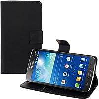 kwmobile Funda para Samsung Galaxy Grand 2 - Wallet Case plegable de cuero sintético - Cover con tapa tarjetero y soporte en negro