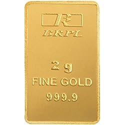 Bangalore Refinery 2 gm, 24k (999.9) Yellow Gold Bar