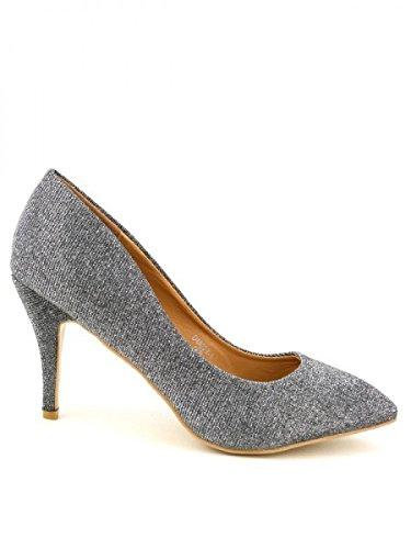 Cendriyon, Escarpin de Soirée pailletés argente LIA Chaussures Femme Argenté