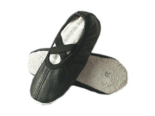 Baby Balettschuhe, Gymnastikschuhe, Krabbelschuhe, aus einem echten Leder, Gr. 22 bis 25 Schwarz/2Gummis