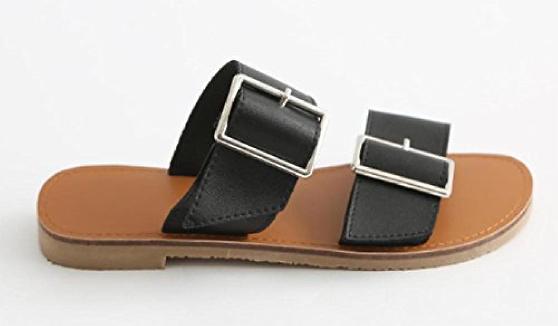 chaussures boucle plates de ceinture ronde chaussures paresseux pantoufles sandales plates boucle sandales d'été et pantouflesB071ZS7B7MParent ffaf8f