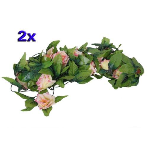 SODIAL(R)2 x Guirlandes de Rose Artificielle de Mariage / Jardin / Decoration d'interieur - Couleur de Peche