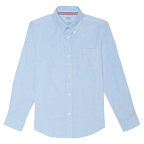 French Toast Big Boys' Long Sleeve Oxford Dress Shirt, Light Blue, 16