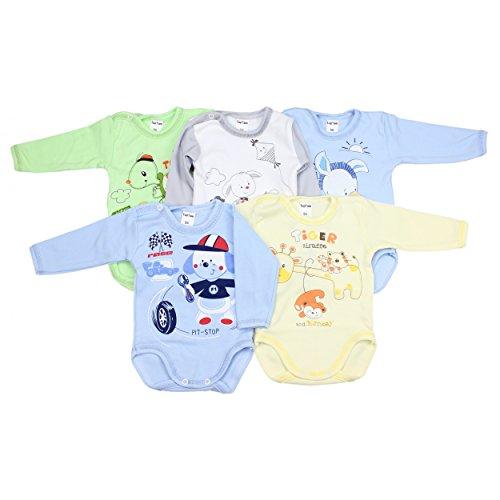 5er Set Baby Langarm-Body 100% Baumwolle Babybody mit Aufdruck Mädchen Bodies Junge Langarmbody, Farbe: Junge, Größe: 80