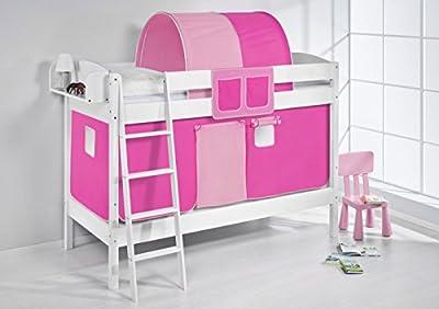 Lilo Kids Litera Ida 4105Color Rosa-teilbares Sistema hochbett-Color Blanco-Con cortina y somieres