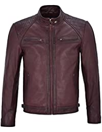 Brad Pitt's Mens Real Leather Speed Racing Quilted Shoulders Cherry Biker Light Weight Jacket