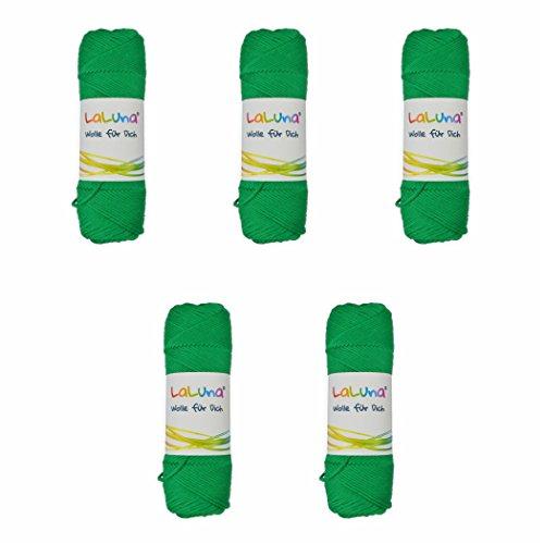 Florida Grün (5er Pack Wolle uni Serie -Florida- grün 100 % BW 250g, Häkelgarn Schulgarn Topflappengarn Marke: LaLuna®)