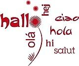 GRAZDesign 720311_40_031 Wandtattoo Wanddeko Wandaufkleber für Wohnzimmer Spruch Hallo Olá Blumen (48x40cm//031 rot)