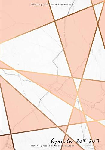 Agenda 2018-2019: Agenda Scolaire de Juillet 2018 à Août 2019,motif abstrait marbre blanc et rose, Semainier simple A5 (moderne et épuré) por Papeterie Collectif