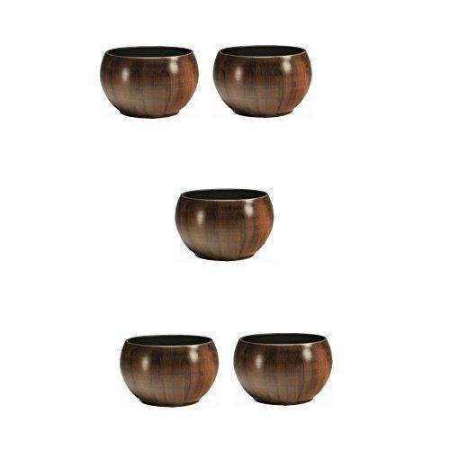Leni Set 5 Keramik Blumentopf Bali Ø 15 cm in Holzdekor (Bali Dekor)