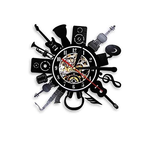 MFHYSJ 1 Stück Gitarre Und Trommel Kit Schallplatte Wanduhr Rock Roll Wanduhr Instrument Uhr Schlagzeuger Gitarrist Musikliebhaber Geschenk