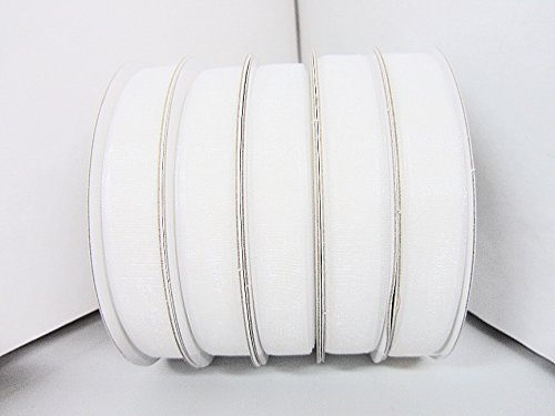 25 yards Spool Sheer Organza 3/8 Ribbon 9mm/Craft/wedding OR38-White US Seller Ship Fast by www.embellishmentworld.com -