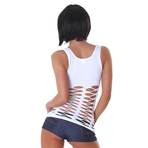 Bixtra Damen Shirt Tanktop Netz Top T-Shirt Fein-Ripp Rundhalsausschnitt Träger Weiß