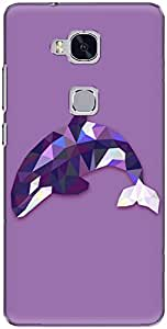 The Racoon Grip printed designer hard back mobile phone case cover for Huawei Honor 5C. (Purple Lea)