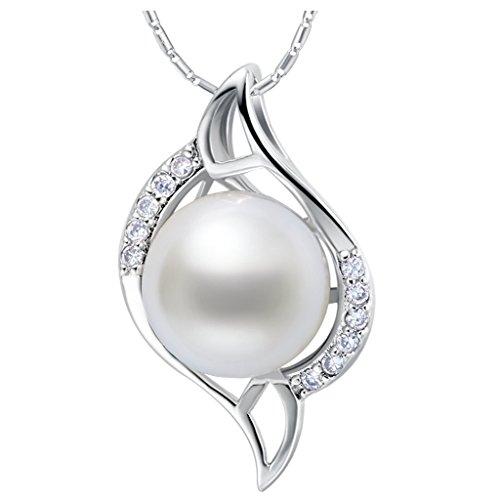 YLR 18K Weiß Schmuck vergoldet glänzend Zirkon Diamant Edge Oval Kette Anhänger Halskette