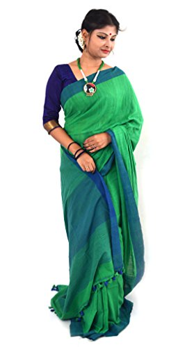 NisujFashion Pure Handloom Khadi Cotton Saree Green & Blue with pompom