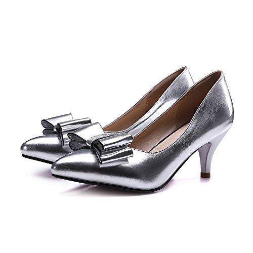 AllhqFashion Damen Pu Leder Mittler Absatz Spitz Zehe Rein Pumps Schuhe Silber